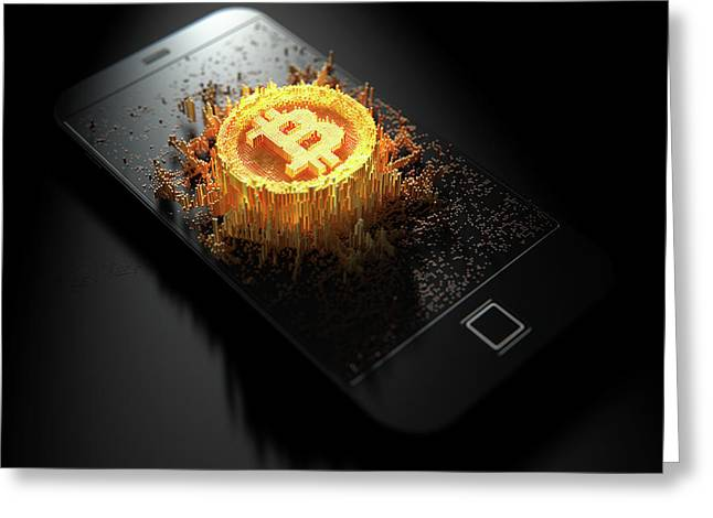 Bitcoin Cloner Smartphone Greeting Card by Allan Swart