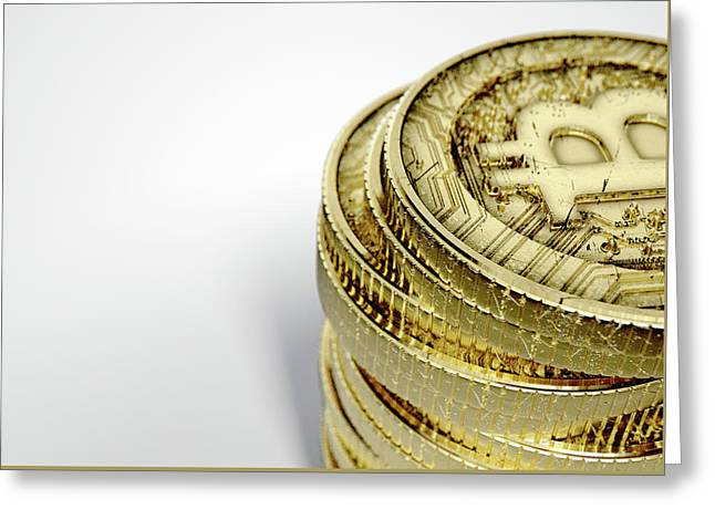 Bitcoin Stack Greeting Card by Allan Swart