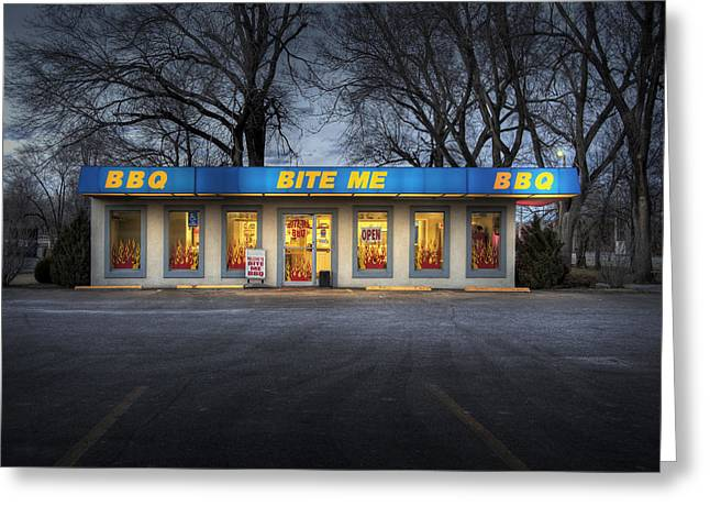 Night Cafe Greeting Cards - Bite Me BBQ Greeting Card by Fred Lassmann