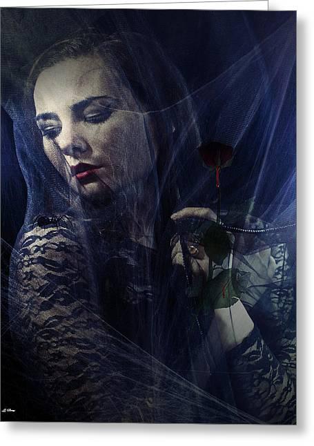 Bite Of The Black Widow Greeting Card