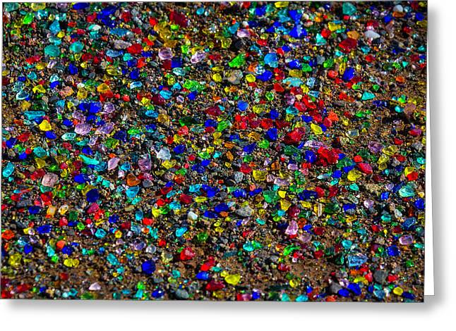 Bits Of Colored Glass Greeting Card by Garry Gay