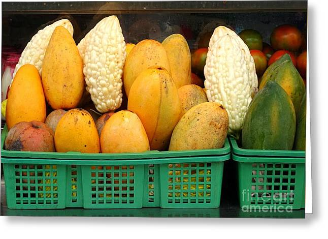 Bitter Gourds, Mangos And Papayas Greeting Card by Yali Shi