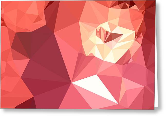 Bittersweet Red Abstract Low Polygon Background Greeting Card