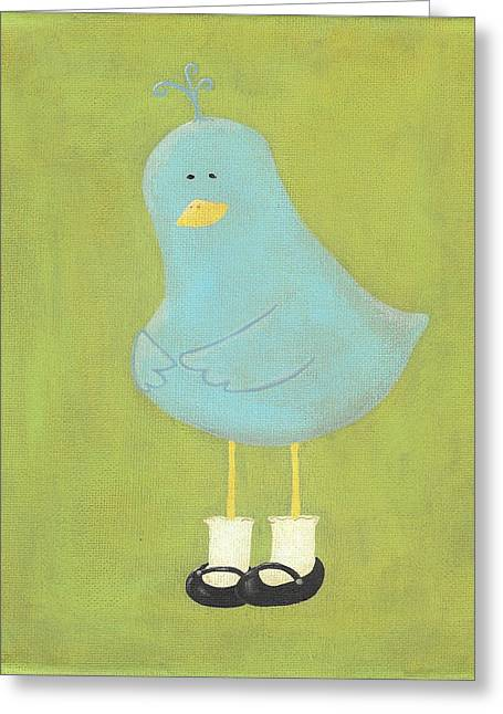 Bitty Bird's New Shoes Nursery Art Greeting Card by Katie Carlsruh