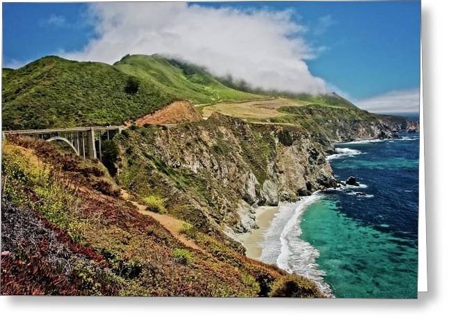 Bixby Bridge And Big Sur Coast, California Greeting Card by Flying Z Photography By Zayne Diamond
