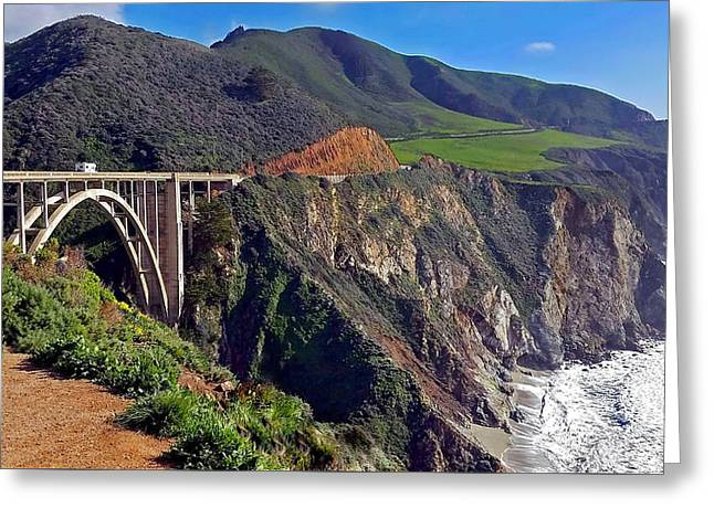 Bixby Bridge At Big Sur Greeting Card by Suzanne Stout
