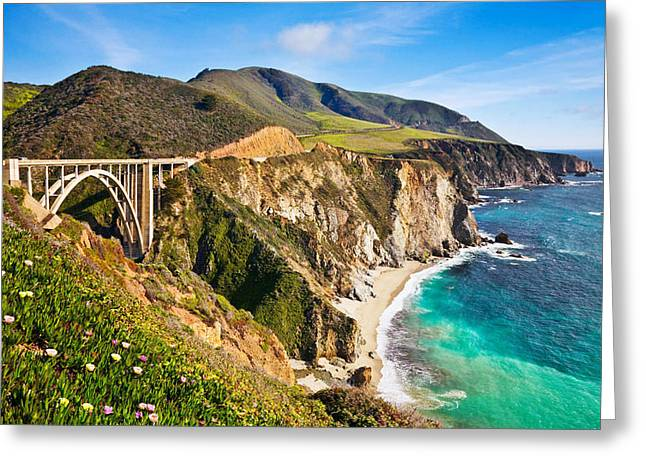 Bixby Bridge In Big Sur California Wide 0 Greeting Card by F S