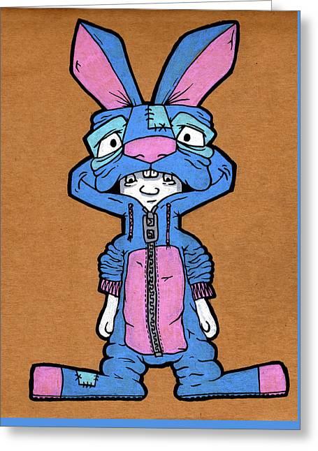Bizarre Bunny Mascot Greeting Card