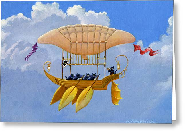 Bizarre Feline-powered Airship Greeting Card by John Deecken