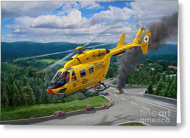 Bk-117 To The Rescue Greeting Card