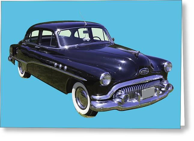 Black 1951 Buick Eight Antique Car Greeting Card by Keith Webber Jr