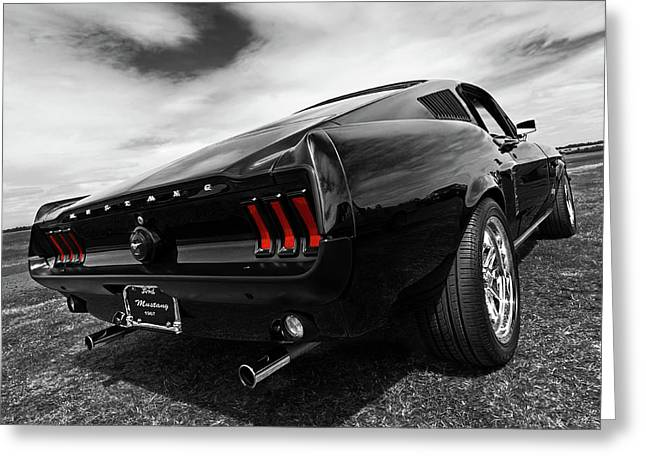 Fastback Greeting Cards - Black 1967 Mustang Greeting Card by Gill Billington