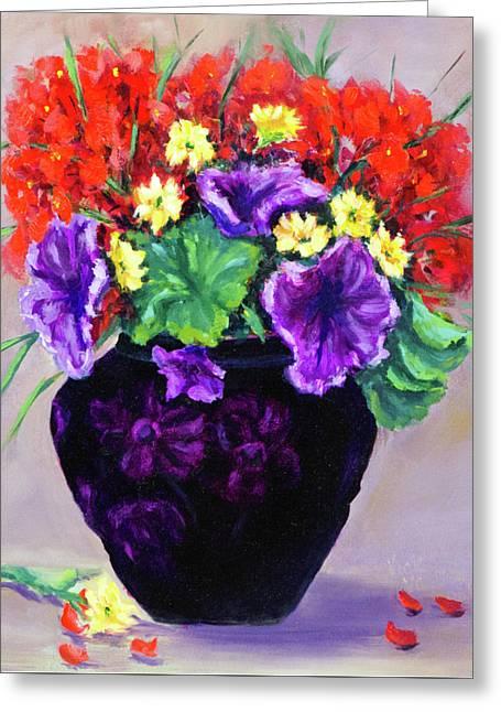 Black Amethyst Satin Vase Greeting Card