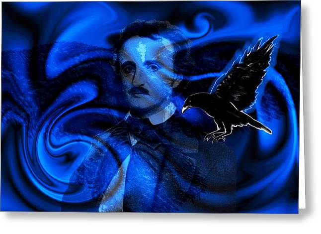 Black And Blue Poe Tribute Greeting Card by Abstract Angel Artist Stephen K