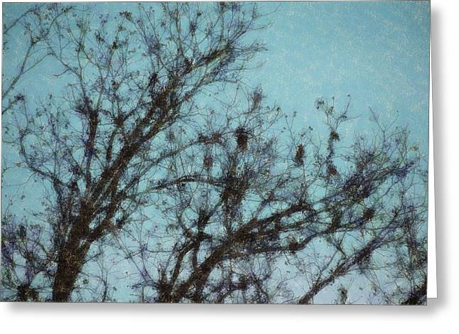 Greeting Card featuring the digital art Black And Blue Smudge by Ellen Barron O'Reilly