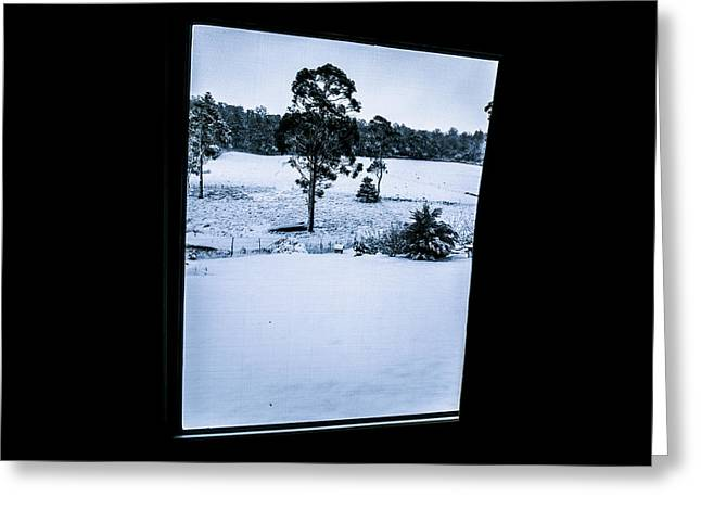 Black And Blue Snow Landscape Greeting Card