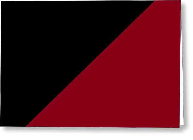 Black And Burgundy Triangles Greeting Card by Marianna Mills