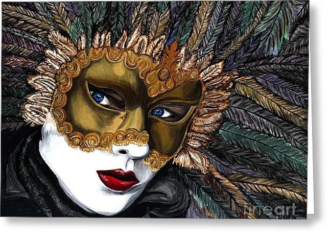 Black And Gold Carnival Mask Greeting Card by Patty Vicknair