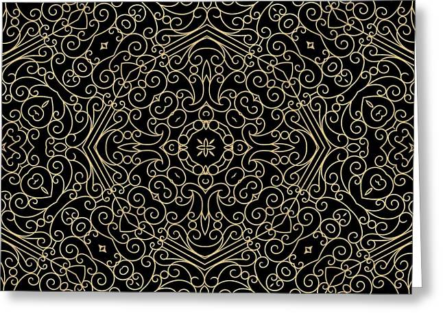 Black And Gold Filigree 002 Greeting Card