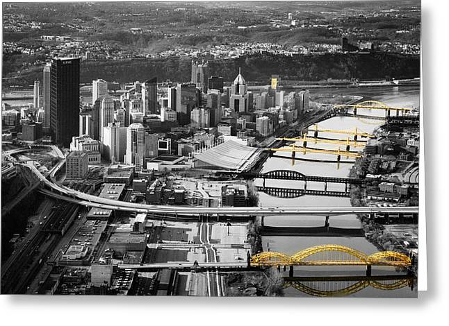 Black And Gold Pittsburgh  Greeting Card by Emmanuel Panagiotakis