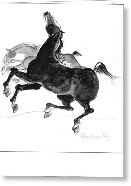 Greeting Card featuring the drawing Black And Gray by Mary Armstrong