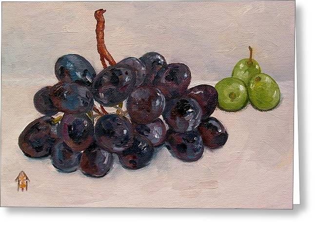 Black And Green Grapes Greeting Card by Carol Roberts booth