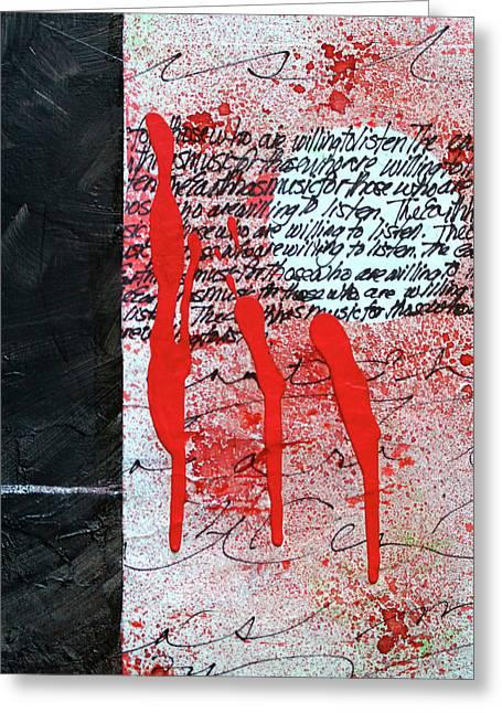 Greeting Card featuring the painting Black And Red 8 by Nancy Merkle