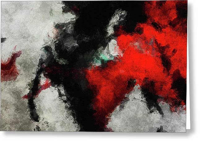 Black And Red Abstract Minimalist Painting Greeting Card by Ayse Deniz