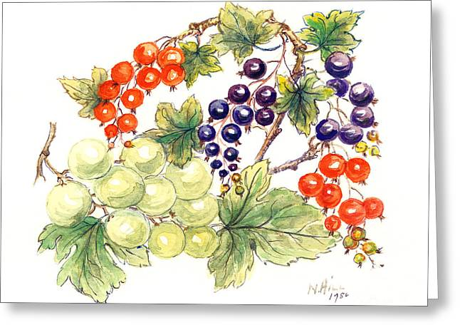 Black And Red Currants With Green Grapes Greeting Card