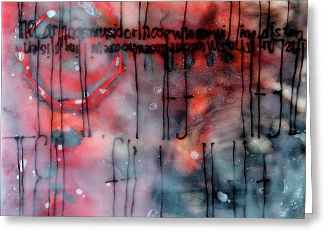 Greeting Card featuring the painting Black And Red Encaustic 4 by Nancy Merkle