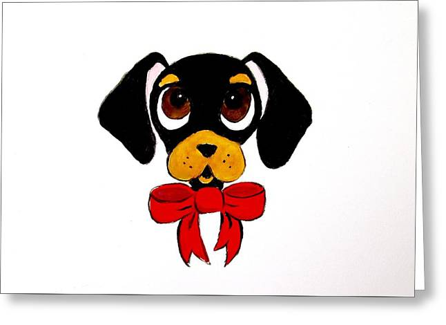 Black And Tan Dachshund Greeting Card