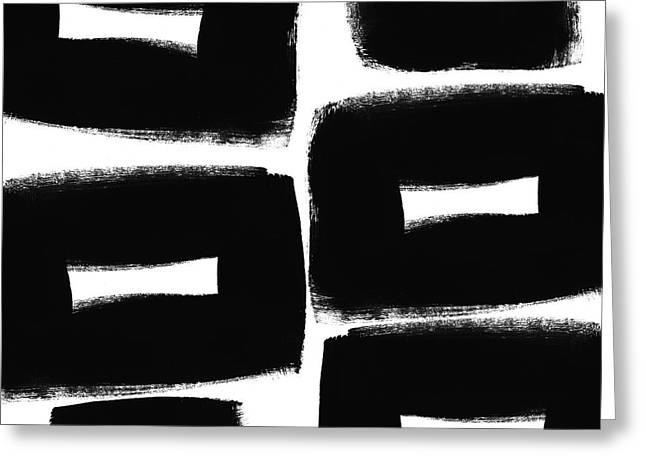 Black And White Abstract- Abstract Painting Greeting Card