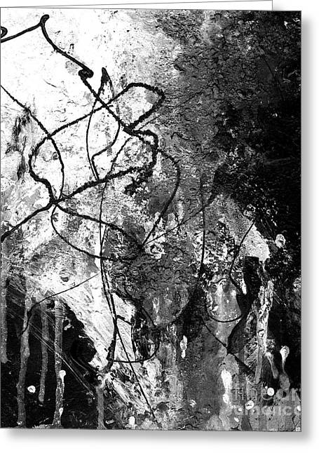 Black And White Abstract Art By Laura Go Greeting Card by Laura  Gomez