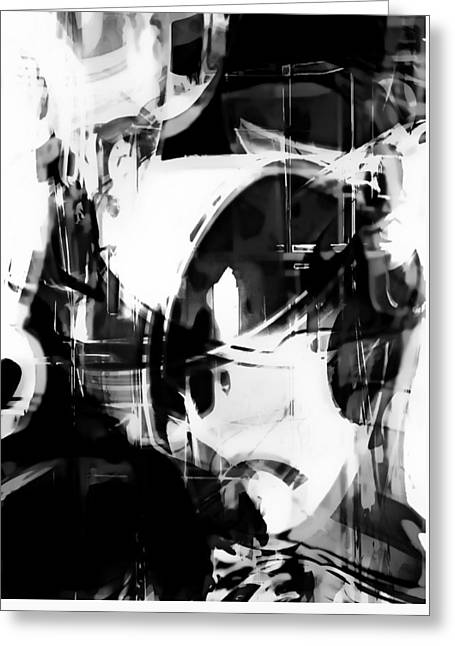 Black And White Abstract Greeting Card by Tom Gowanlock