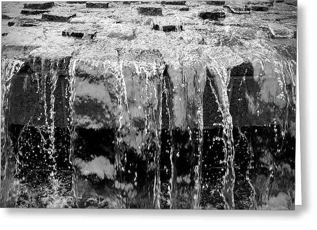 Black And White Abstract Waterfall Greeting Card