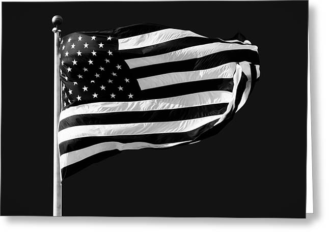 Black And White American Flag Greeting Card by Steven Michael
