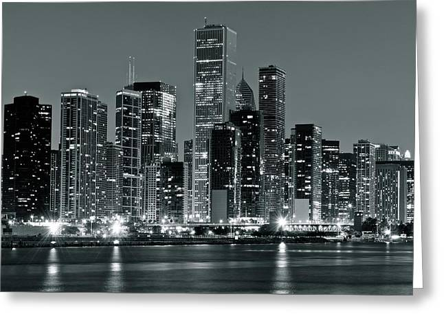 Black And White And Grey Chicago Night Greeting Card by Frozen in Time Fine Art Photography
