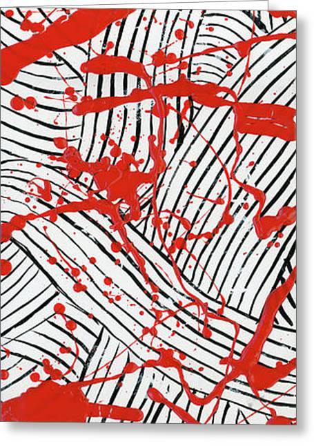 Black And White And Red All Over 1 Greeting Card