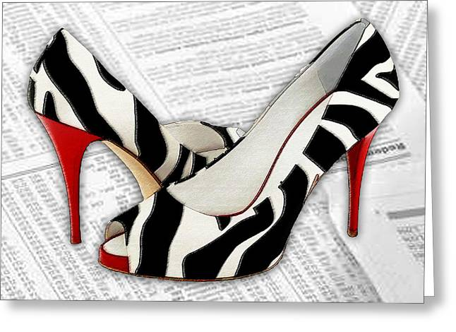Black And White And Red All Over Greeting Card by Elaine Plesser