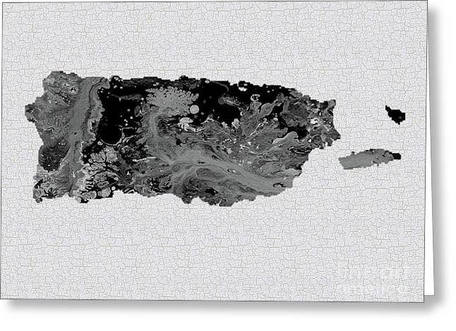 Black And White Art Puerto Rico Map Greeting Card by Saribelle Rodriguez