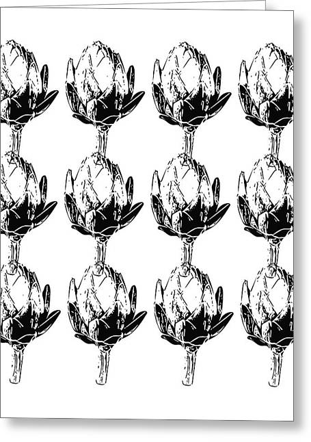 Black And White Artichokes- Art By Linda Woods Greeting Card by Linda Woods