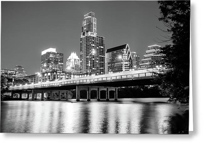 Black And White Austin Skyline On The River - Texas Capitol Greeting Card
