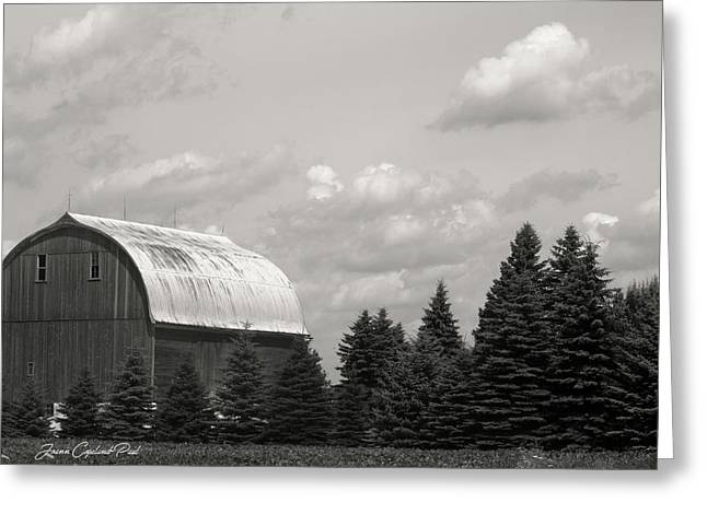 Greeting Card featuring the photograph Black And White Barn by Joann Copeland-Paul