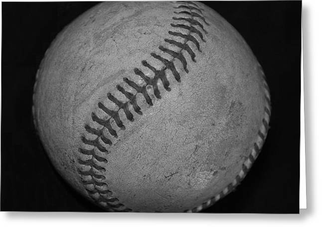 Black And White Baseball Greeting Card by Rob Hans