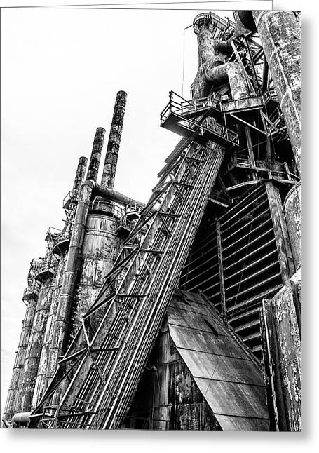 Black And White - Bethlehem Steel Mill Greeting Card by Bill Cannon