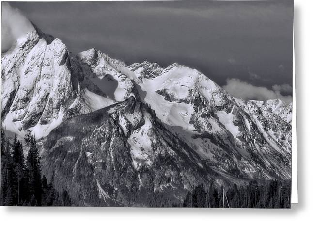 Black And White Boat On Jackson Lake Wyoming Greeting Card by Dan Sproul