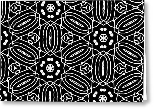 Black And White Boho Pattern 2- Art By Linda Woods Greeting Card by Linda Woods