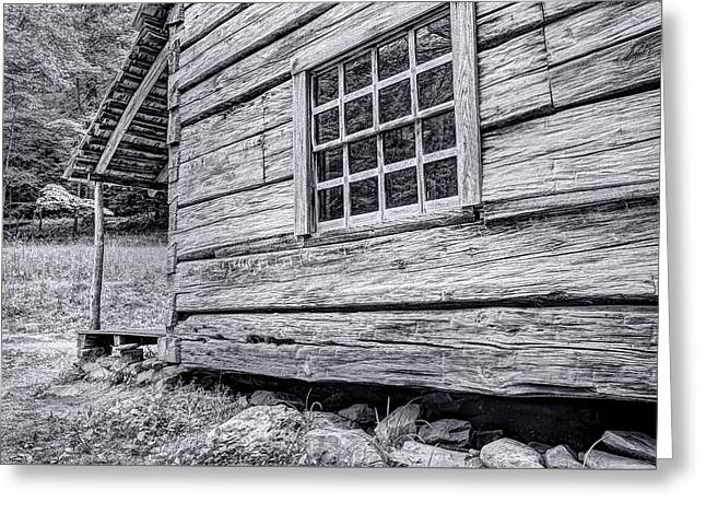Black And White Cabin In The Forest Greeting Card