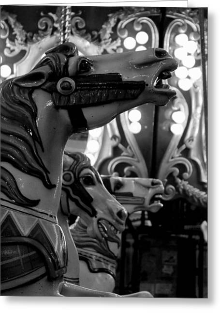 Black And White Carousel Greeting Card by Dana  Oliver