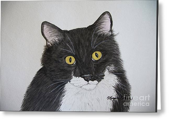 Black And White Cat Greeting Card by Megan Cohen